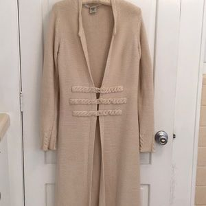 Max Studio Cream Maxi Duster Cardigan w crocheting